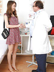 Skinny chick gets involved into kinky gyno exam with a naughty doctor