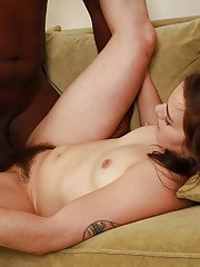 Hairy amateur babe would love to be a star of interracial porn flick