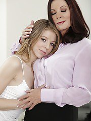Mature lesbian Magdalene St. Michaels caresses sweet Chastity Lynn