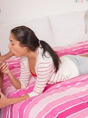 Glorious teen Giselle Mari does one of her first blowjobs for camera