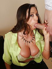 Suggestive Latina milf Ariella excited to see sperm on her tits