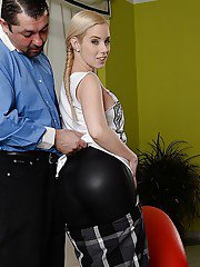 Pretty babe Nesty is fond of demonstrating her cute European ass