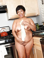 Gentle Latina fatty Izabel starts to feel very frisky in kitchen room