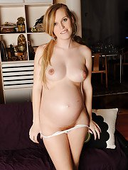 Smiley pregnant amateur with puffy nipples and hairy gash getting naked