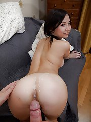 Asian amateur feels hot sperm spilled on her lovely ass cheeks