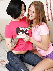 Lesbian teens Netta and Malia do a lot of fingering and anal humping