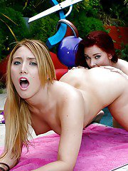 Lesbian coeds AJ and Melody are having sexy swimming pool party
