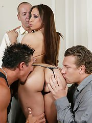 Crummy long-haired Latina is involved in a very exciting gangbang