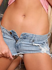 Perky amateur sweetie in jeans shorts undressing and spreading her legs
