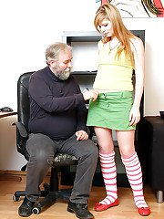 Young and sexy girl is seduced by horny oldman in office room