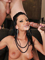 Graceful MILF in fishnets has some interracial blowbang fun with hung guys