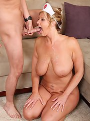 Pleasant mature babe Zoey Andrews is a fatty that swallows cum