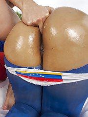 Three bombshells with round oiled up butts sharing a stiff meaty pole
