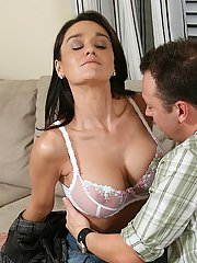 Admirable milf with big tits Sami undresses and gives blowjob