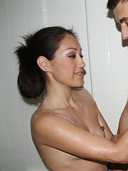 Wet Asian night-walker Dawn Ivy washes penis with her soft hands