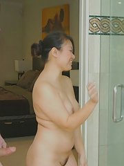 Amusing Asian fatty Kiwi Ling massages beaver-cleaver and licks balls