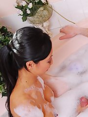 Slutty asian masseuse has some soapy cock jerking fun with her client
