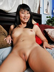 Asian sweetie with hot feet taking off her lingerie and exposing her goods