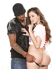 Yummy long-haired babe tries sweet interracial blowjob today