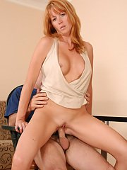 Busty MILF with amazing butt rides a cock for cum on her face and rack