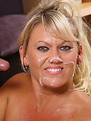 Ample-breasted MILF with pierced belly button gets screwed and facialized