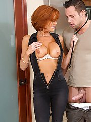Hot redhead cougar seduces and fucks a guy for some tasty jizz
