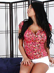 Latina lesbian Anissa Kate sticks black dildo inside Charlee Monroe