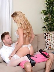 Dangerous blonde cougar Cherie Deville fucks great and gets a cumshot