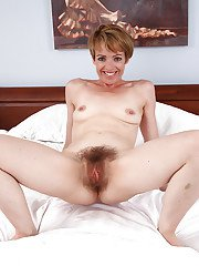 Really hairy pussy by mature woman with short hair named Maria