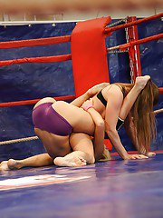 Lesbian catfight scene by ambitious girls Ivana Sugar and Cathy Heaven