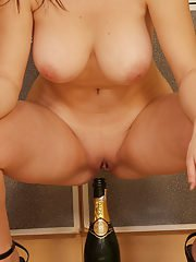 Teen girlfriend Cindy with gorgeous big natural boobs loves champagne