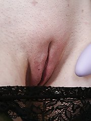 Mature maid named Clare Cream shoves a violet toy in her pussy