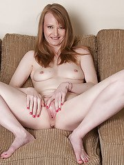 Naughty pale milf Natalia spreading hard her two alluring holes