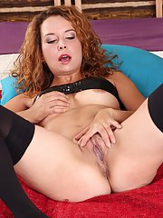 Cheeky slut Alexis Ray showing shaved sissy and fingering hard