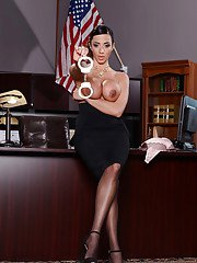 Horny milf Ariella Ferrera shows her awesome body in the office