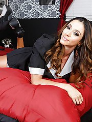 Sexy maid Ariella Ferrera takes off her unifrom and seduces everyone