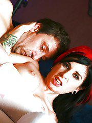 Stockings milf model Joanna Angel sucks a big hard cock of her man