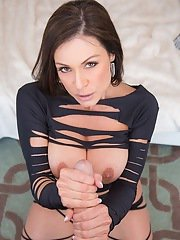 Fascinating milf model Kendra Lust is sucking a big white cock