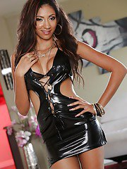 Brunette chick with long legs Sadie Santana showing her big tits