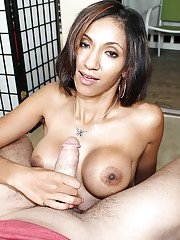 Latina beauty with big natural titties is doing the best handjob