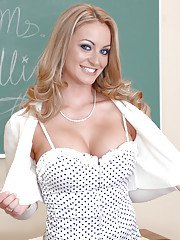 Creamy skinned babe Aline showing delicious tits at school