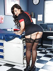 Tremendous nurse Lisa Ann is showing her perfect ass in stockings