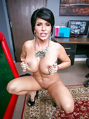Big cock is penetrating small mouth of an brunette milf babe Shay Fox