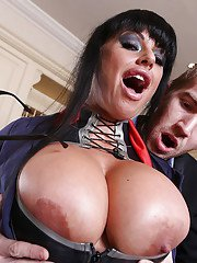 Stunning brunette Kerry Louise is having her big tits teased hard
