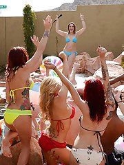 Wild pool party with reality chicks Dani Daniels and Monique Alexander