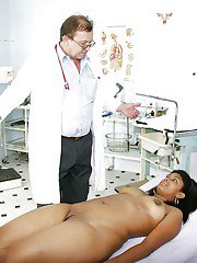Old doctor with filthy thoughts is fingering tight cunt of Manuela
