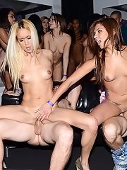 Groupsex orgy party with latina bitches having some cum on face