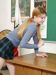 Blonde schoolgirl Mya Lynn takes her skirt off and give a good blowjob