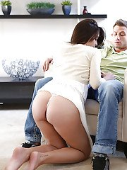 Brunette girlfriend Natalie is giving a smooth and tender blowjob