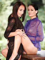 Sunshine B and El Storm playing in lesbian games outdoors
